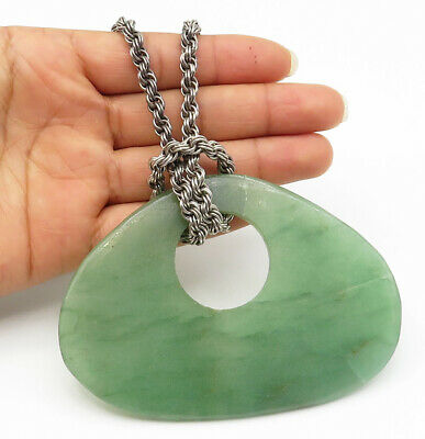 925 Sterling Silver - Vintage Large Smooth Jade Twist Link Chain Necklace- N2119