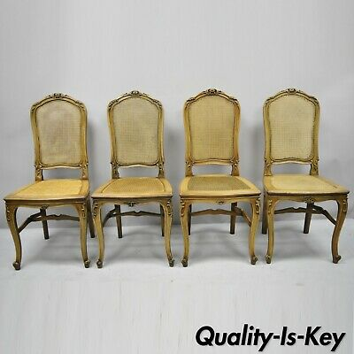 4 Antique French Provincial Louis XV Style Carved Walnut & Cane Dining Chairs