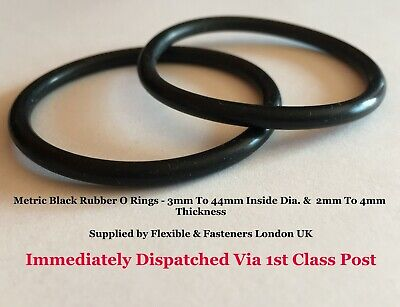 Metric Black Rubber O Rings - 3mm To 44mm Inside Dia. &  2mm To 4mm Thickness