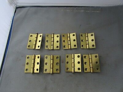 """Lot (8) VTG Butt Hinge Brass Plated 2"""" Removable Pins National Lawrence ?"""
