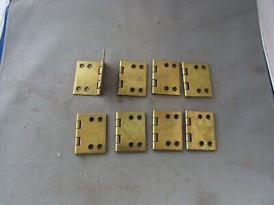"""Lot (8) VTG NOS Brass Plated Limited 90 Degree Hinges 2"""" x 2.5"""""""