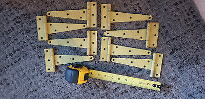 """Lot (4) VTG Yellow Painted Chic Tee Hinge Straps 7"""" x 3.5"""" Old Cabinet Barn Door"""