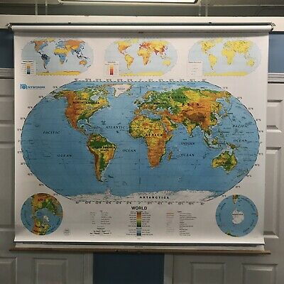 NYSTROM 1SR991 PULL DOWN WORLD//U.S.A SCHOOL MAP AMERICA US HOME SCHOOL MARKABLE