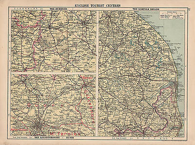 1929 Map ~ English Tourist Centres ~ The Dukeries Norfolk Broads Leicestershire