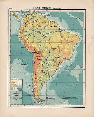 1924 Print ~ South America Physical ~ Heights & Depths Inset Galapagos
