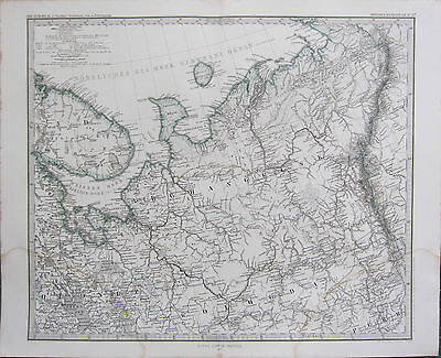 1870 Dated Map ~ North Russia A Petermann ~ Adolf Stieler Hand Coloured