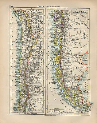 1897 Victorian Map ~ South America Chile ~ Northern & Southern Portions