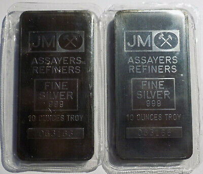 Johnson Matthey Blank Back 10 oz troy .999 silver art bar
