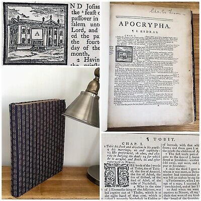 Antique APOCRYPHA of The Holy Bible circa 17th 18th Century Primitive Rebound
