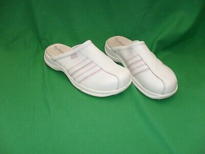 NEW TOFFELN MULE WHITE/PINK. LEATHER UPPER no BOX
