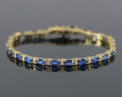 7104caaf9e0051 $6200 BJ 14K Yellow Gold 8.00ct Oval Blue Sapphire Round Diamond Tennis  Bracelet