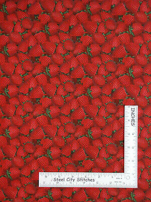 Strawberries Strawberry Fruit Food Red Cotton Fabric Print by the Yard D574.68