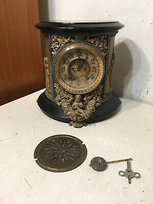Rare Antique Ansonia Indiana Model Iron Case Mantle Clock