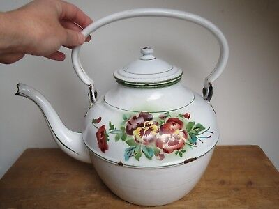 Antique French enamelware graniteware kettle water boiler by JAPY