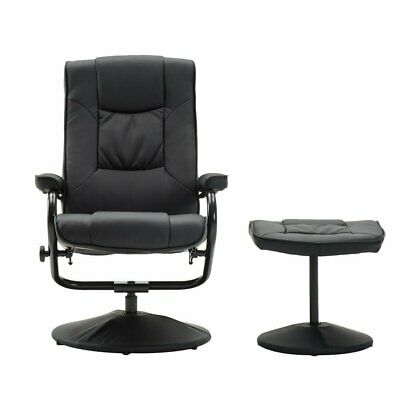 Leather Swivel Gaming Office Computer Lounge Recliner Chair With Free Footstool