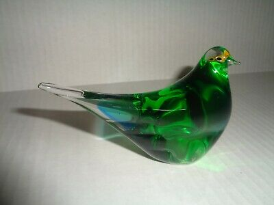 MULTI GLASS Corp. ART GLASS CRYSTAL FIGURINE GREEN BIRD Italy