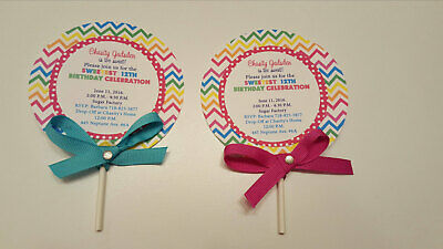 Lollipop Invitations, Candyland Lollipop Invitations, Candyland Birthday Party -