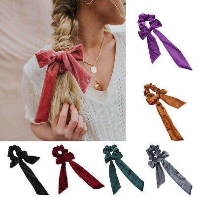 Women Ribbon Bow Hair Scrunchie Girl Elastic Velvet Hair Band Rope Ties Ponytail