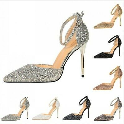 Womens Shoes Party Pointed Toe Sexy Wedding High Heel Stiletto Sequins Nightclub