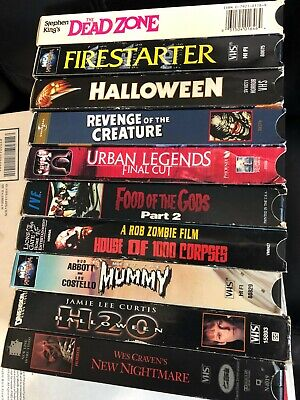 LOT OF 10 Horror VHS Tapes - 1980s 1990s Rare Cult Movies Videos - Halloween