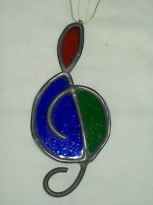 """Vintage"" ~ Leaded Stained Glass Musical Note ~ Art Glass Sun Catcher"