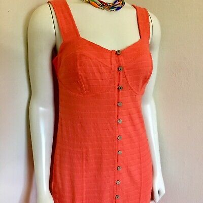 c1b8552020 Free People FP Beach Orange Cotton Knit Corset Seamed Cups BoHo Dress S M 4  6