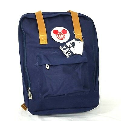 Disney Parks 2017 Navy Vintage TAG Canvas Mickey Mouse Travel Backpack Bag Icon