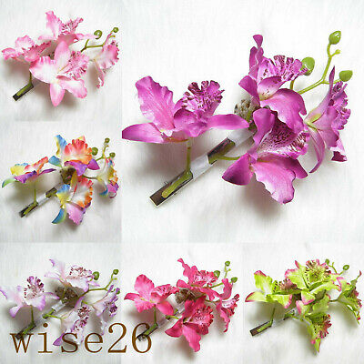 Butterfly Orchid Flower Hair Clip Women Barrette Pin Bridal Wedding Prom Party