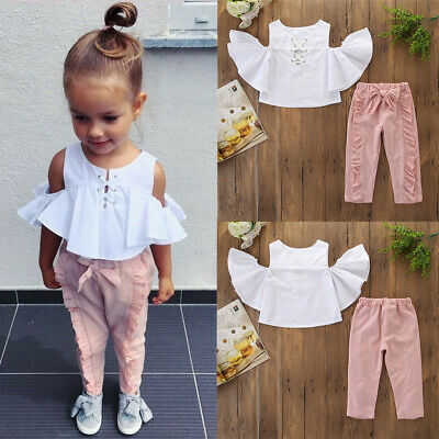 1-6 Years Kids Baby Girls Outfits Clothes Ruffles T-Shirt+Bowknot Long Pants Set