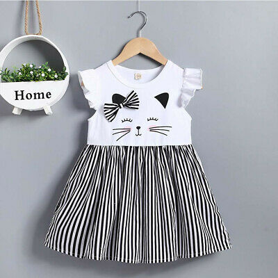 Toddler Kids Baby Girl Sleeveless Cat Print Stripe Princess Dress Casual Clothes
