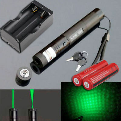 2 in 1 532nm 1mW Green Laser Pointer Pen Lazer Beam Light+18650+Dual Charger+Key