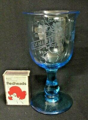 "Blue Glass Wine Stem Souvenir Exhibition Adelaide South Australia 1930 ""Hilda""."