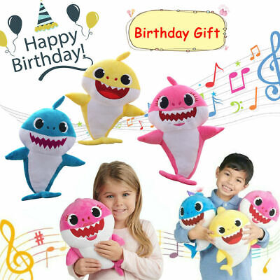 Baby Shark Plush LED birthday gift Toys Music Doll Sing English Song Toy 32cm