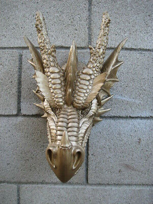 Large Fierce Medieval Dragon Head Wall Figurine Hanging Mount Plaque