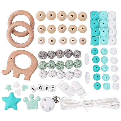 Silicone Beads Kit Teething Wooden Beads for DIY Dummy Clips, Pacifier Chain,