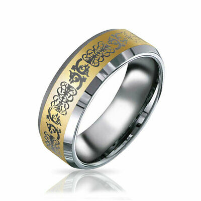 Gold Plated Mens Celtic Dragon Tungsten Band Ring 8mm