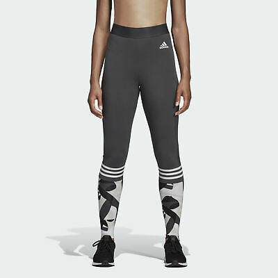 53dc87d2db053c adidas Performance Sport ID Printed Tight Damen Leggings Grau Freizeit- Leggings