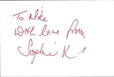 Sophie Millett actress signed white card dedicated in person autograph Z3207