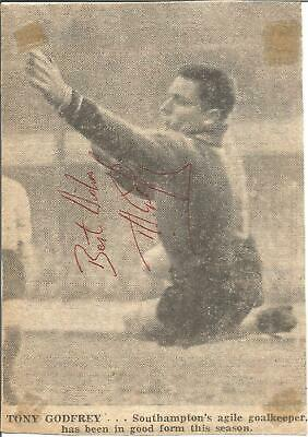 Football Autograph Tony Godfrey Goalkeeper Signed Newspaper Picture F1088
