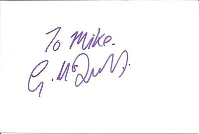 Gerard McDermott actor signed white card dedicated in person autograph Z3249