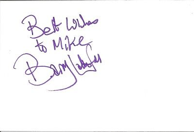 Barry Latchford actor signed white card dedicated in person autograph Z3242