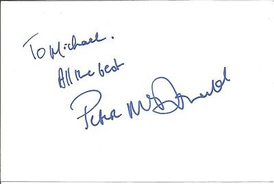Peter McDonald actor signed white card dedicated in person autograph Z3252