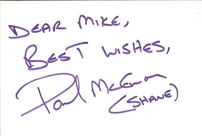 Paul McEwan actor signed white card dedicated in person autograph Z3256