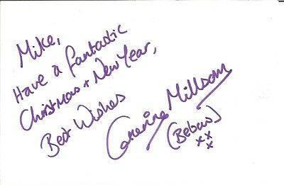 Catherine Millsom actress signed white card dedicated in person autograph Z3194