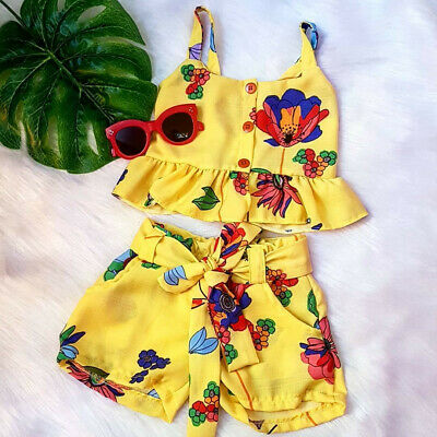 Toddler Baby Kid Girl Floral Ruffle Vest Tops Bow Shorts Outfit Sets Clothes