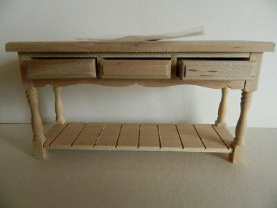 (H25) 1/12th scale DOLLS HOUSE BAREWOOD THREE DRAWER TABLE