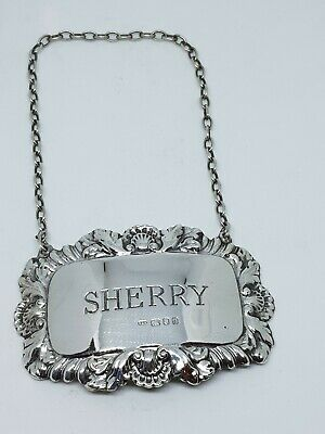 Vintage Hallmarked Solid Sterling Silver Sherry Decanter Label London