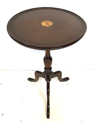LARGE Antique Style Inlaid Solid Mahogany Wine Occasional Table Lamp Stand (a89)