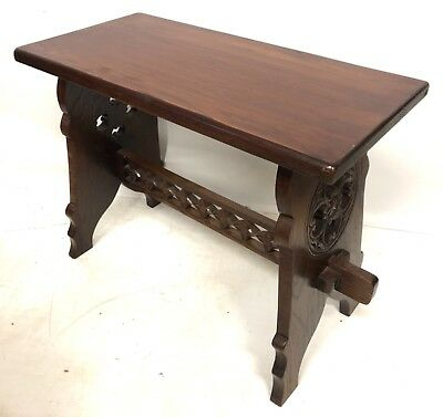 Antique Style Carved Oak Joint Stool Boarded Stool Lamp Stand GOTHIC REVIVAL