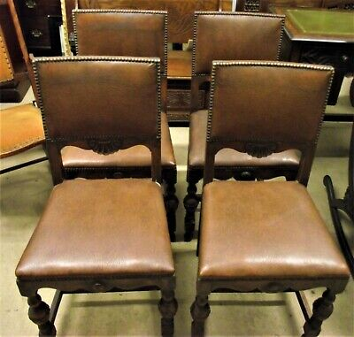 """"""" Four Leather Dining Chairs, """" Circa  1940-1950"""